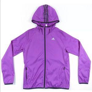 Adidas Hooded Striped Full Zip Windbreaker Jacket